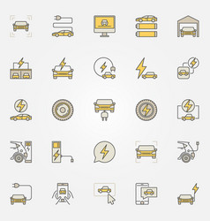 Electric car colorful icons vector