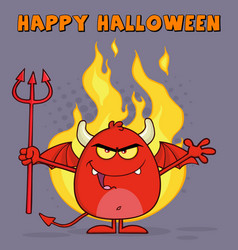 evil red devil character over flames vector image vector image
