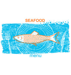 Fish labelvintage style of menu on blue old paper vector