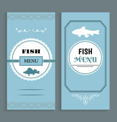 fish menu template seafood dishes list vector image