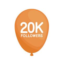 Followers 20k in balloon helium vector