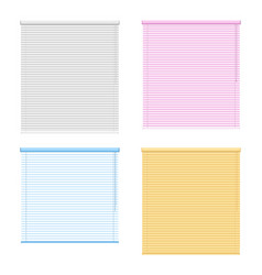 Four colored window roller shutters set vector