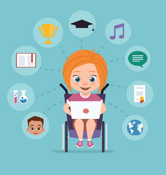 Girl in a wheelchair is studying via the internet vector
