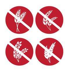 Gluten free icons set with wheat and rye ears vector