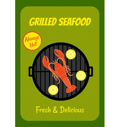 grilled lobster vector image