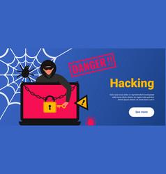 Hacker attack poster vector