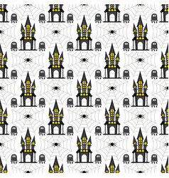 Halloween seamless pattern castle web and ghost vector