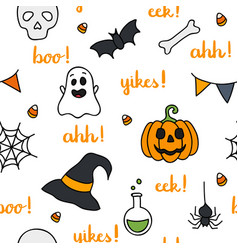 halloween words lettering and items seamless vector image