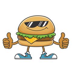 hamburger cartoon character with sunglasses vector image