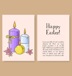hand drawn easter gift card with candles and vector image