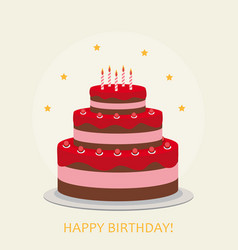 happy birthday poster background with cake vector image