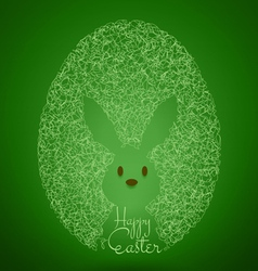 Happy easter green background with egg rabbit vector