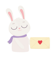 happy valentines day cute bunny with envelope vector image