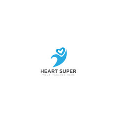 heart super logo design vector image