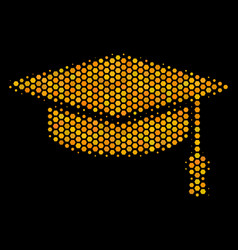hexagon halftone graduation cap icon vector image