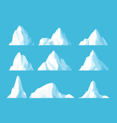 icebergs in ocean flat set vector image