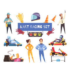 Karting sport set vector