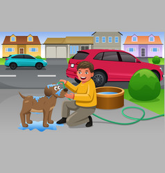 kid giving his dog a bath vector image