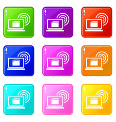 laptop and and wireless icons 9 set vector image