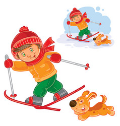 Little child going skiing vector