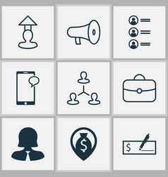 Management icons set with handbag career vector