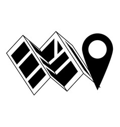 map and location pin symbol in black and white vector image