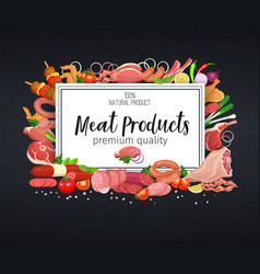 meat products on chalkboard vector image
