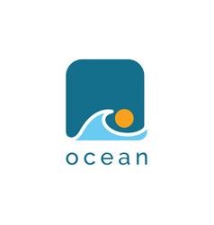 ocean wave logo design symbol template vector image