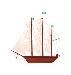 Old wooden ship sailing vessel marine transport vector