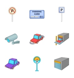 Parking station icons set cartoon style vector