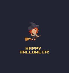 pixel art witch vector image