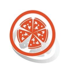 Pizza sign sticker orange vector