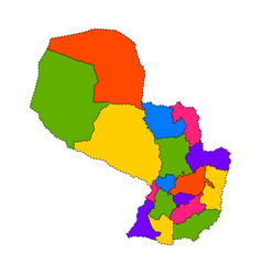 Political map of paraguay vector