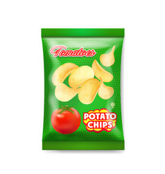 Potato chips package with tomatoes isolated vector