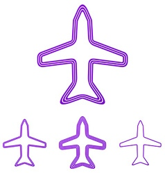 Purple line airplane logo design set vector