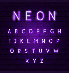 Purple neon alphabet vector