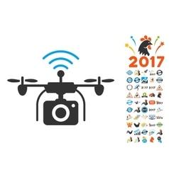 Radio Camera Drone Icon With 2017 Year Bonus vector
