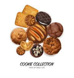 realistic cookies concept vector image