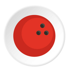 red marbled bowling ball icon circle vector image