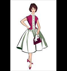 Retro stylish fashion dressed girl vector