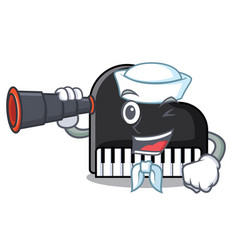 Sailor with binocular piano mascot cartoon style vector