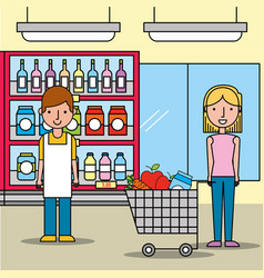 salesman and customer woman with shopping cart in vector image
