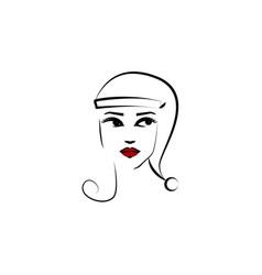 santa claus hat girl icon element beautiful vector image
