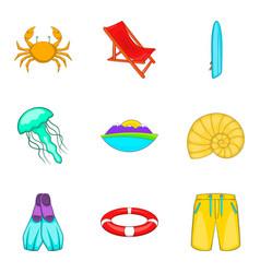 sea life icons set cartoon style vector image