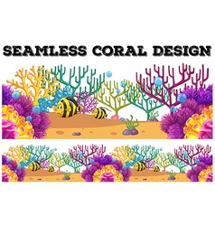 Seamless coral reef and fish underwater vector