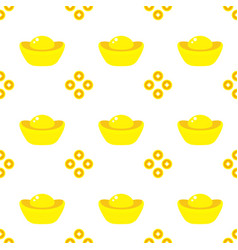 seamless pattern chinese gold ingots and coins vector image