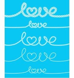 Set of love rope inscriptions vector