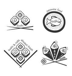 Set of sushi logosbadges labels and design vector