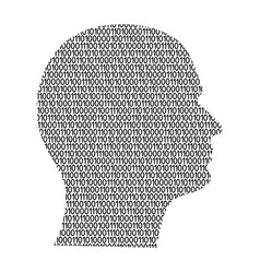 silhouette of male head on the side cyber mind vector image