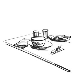 Sketch breakfast or dinner plate of porridge and vector
